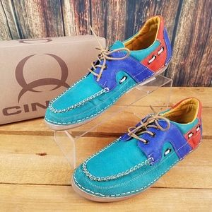 CINCH WOMENS CWW3017 TURQUOISE LACE UP BOAT SHOES